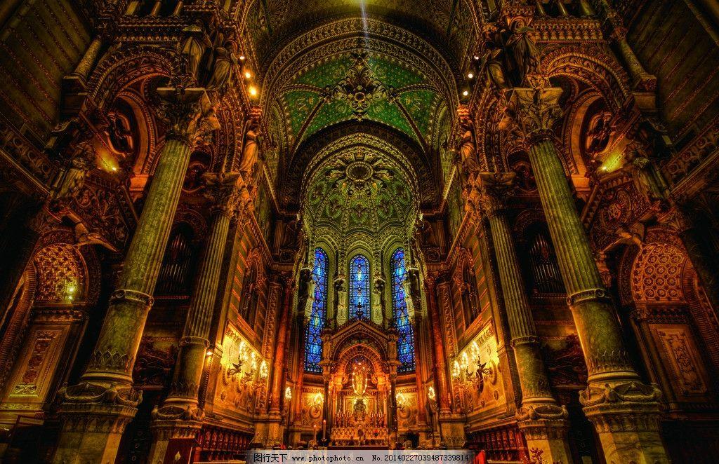 教堂 穹顶 美式 欧式 仰视 花纹 建筑 石雕 彩绘 琉璃 斑斓 圆顶 商业