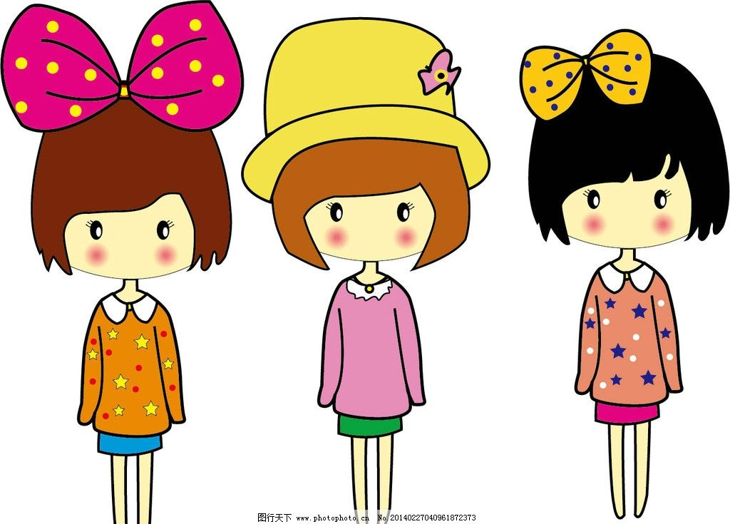 矢量卡通女孩 矢量图 卡通漫画 蝴蝶结 帽子 儿童幼儿 矢量人物