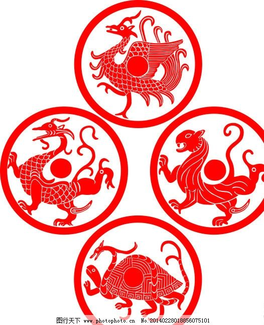 青龙 白虎 朱雀 玄武 雕刻图案 传统文化 文化艺术 矢量 cdr