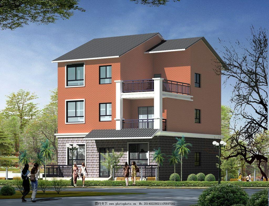 别墅 二层小洋楼 绿化景观