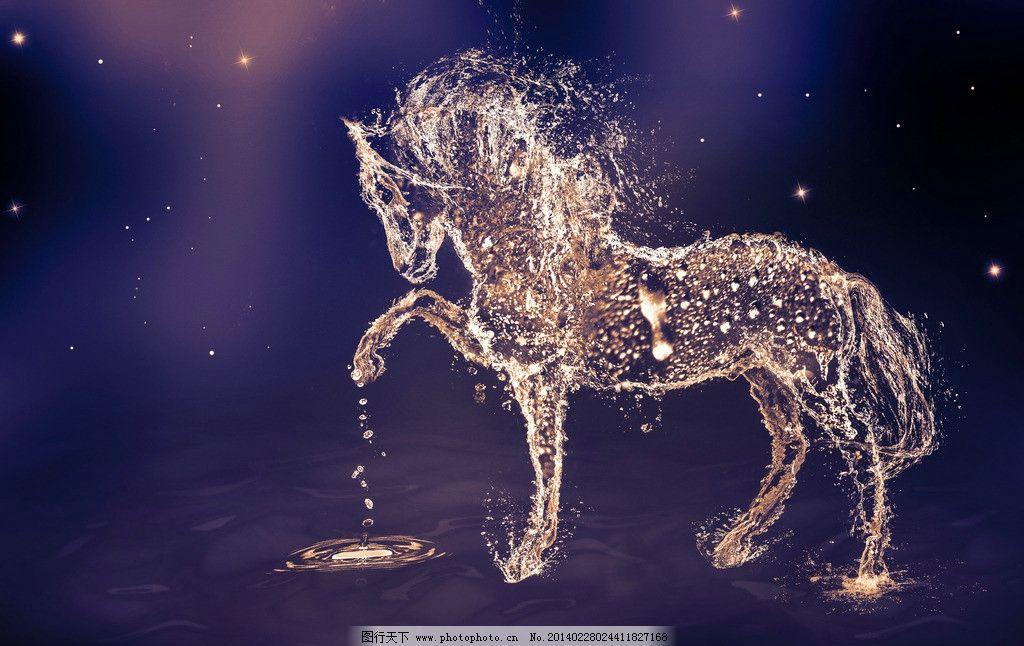 骏马 创意 设计 水珠 水晶 晶莹 星空 动物设计图 野生动物 生物世界