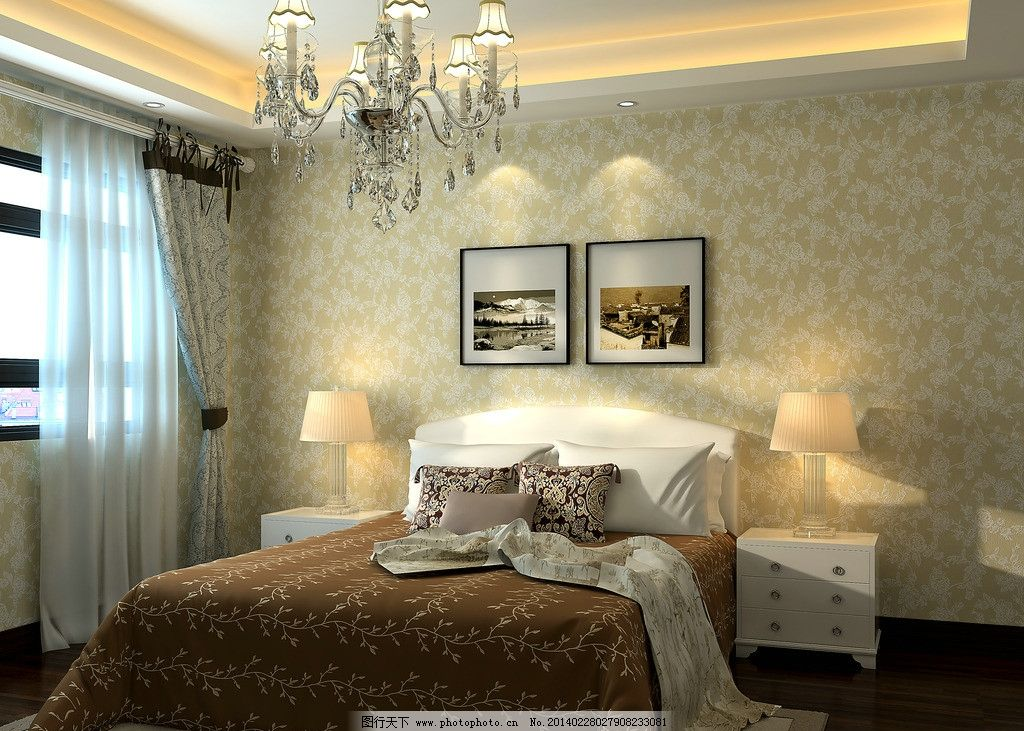 墙纸室内渲染效果图图片