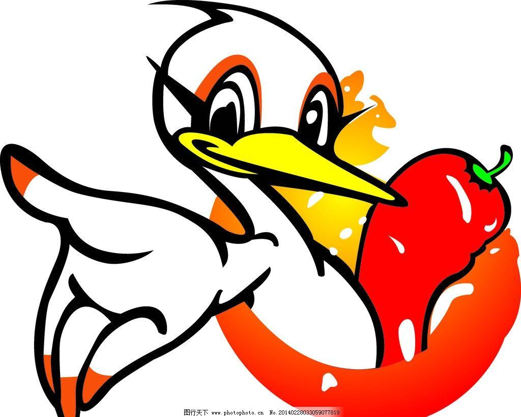 卡通鸭 卡通鸭子 卡通 辣椒 标识 高清 psd分层素材 源文件 100dpi图片