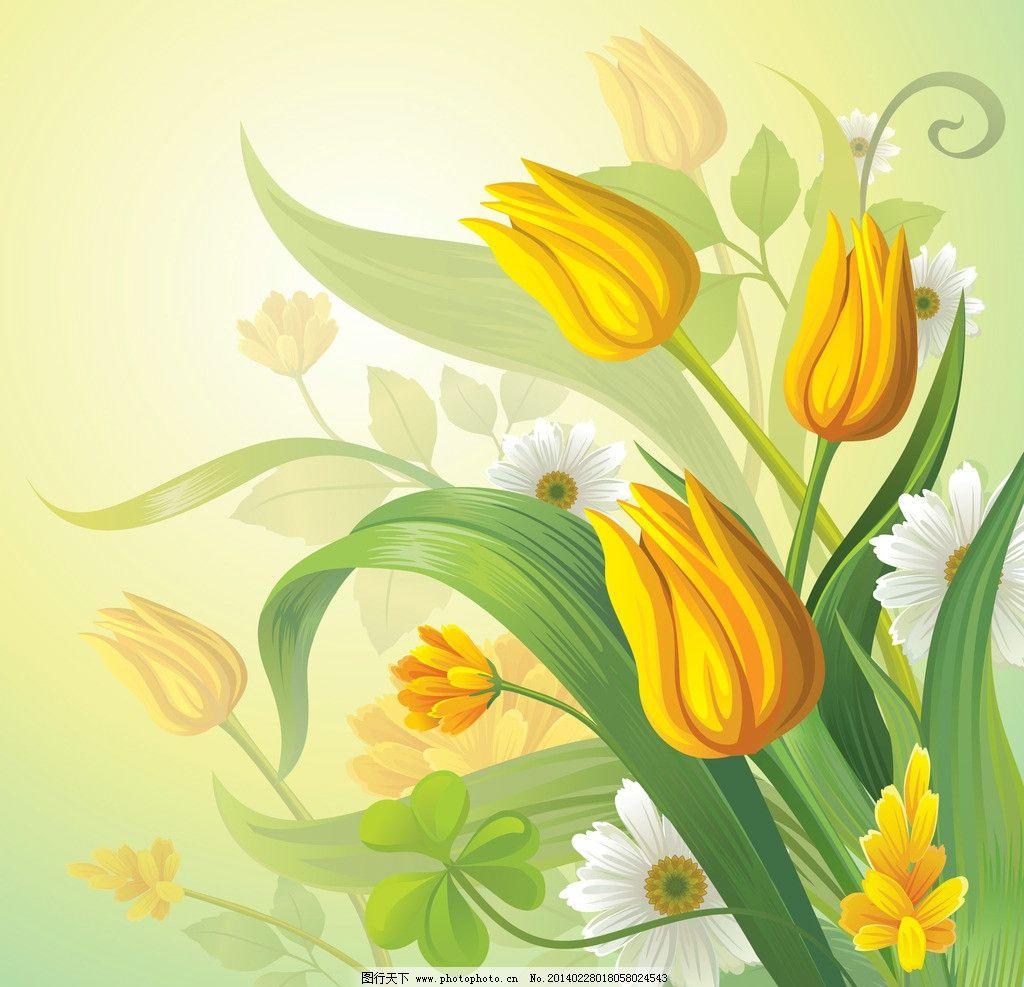 手绘百合花 手绘花卉 花纹花卉 鲜花 绿叶 花草背景 生物世界