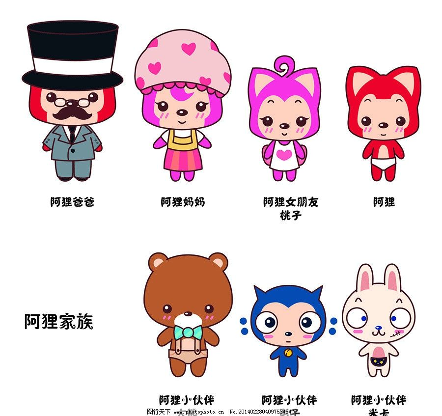 阿狸家族成员 阿狸 桃子 情侣 矢量图 卡通 动漫 儿童幼儿 矢量人物图片