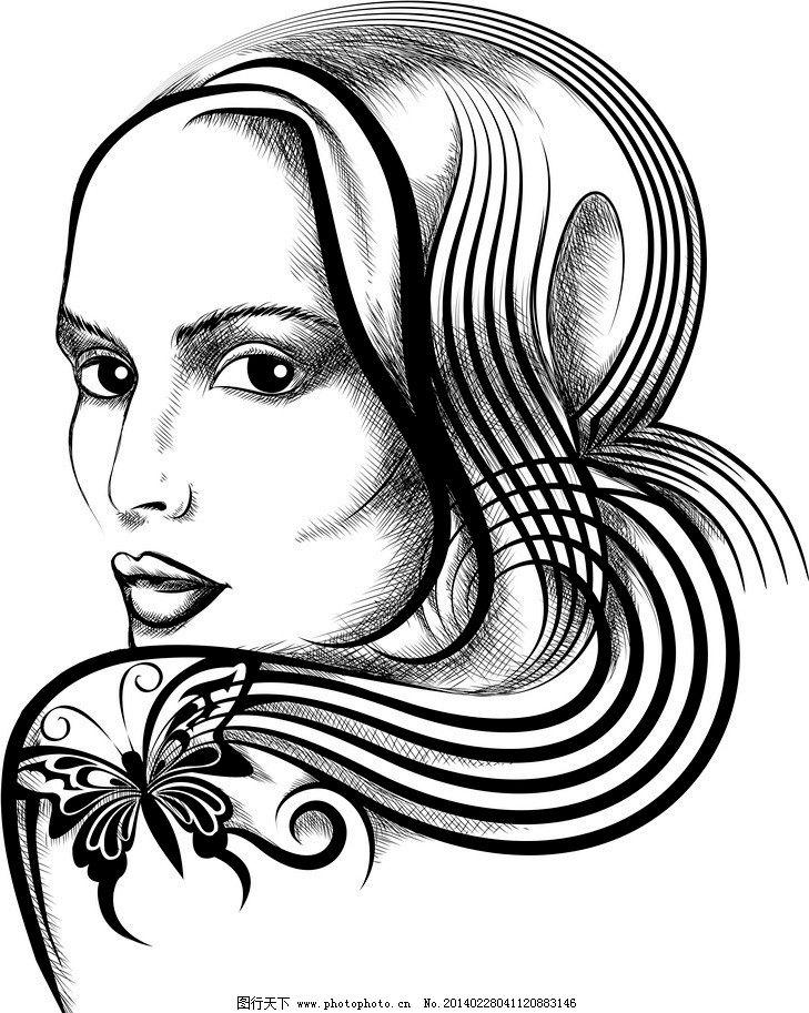 美女头像 美女 女人 女孩      素描 手绘 迷人 时尚女孩 时尚美女