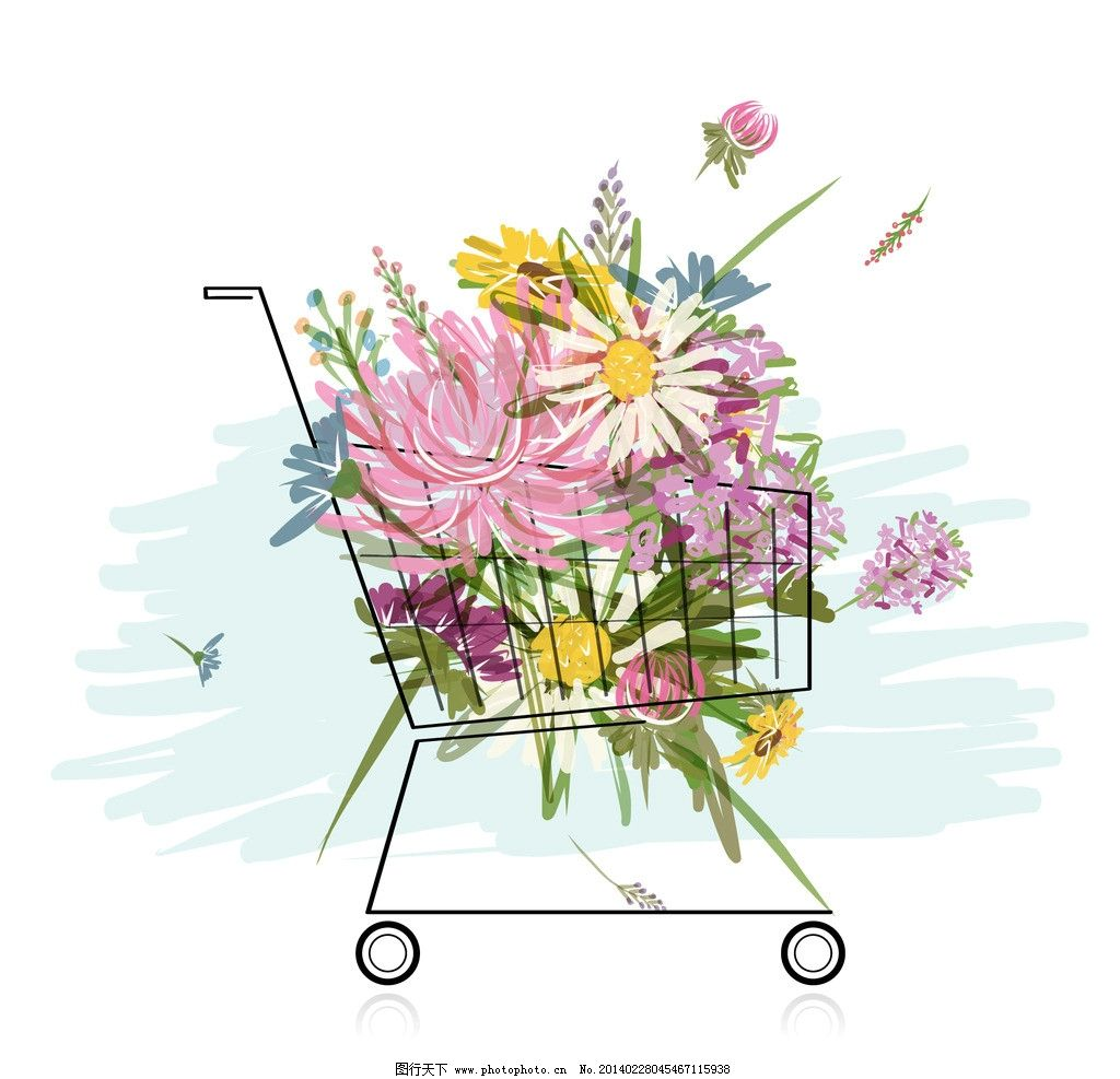 手绘花卉 花卉 花纹花卉 菊花 购物车 花草背景 花草 生物世界 矢量