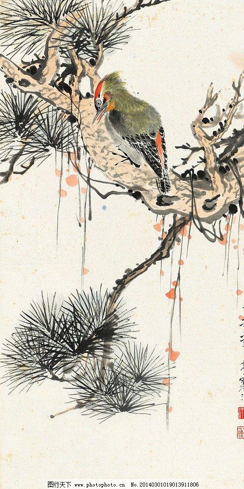 花鸟 江寒汀 国画 啄木鸟 苍松 树枝 写意 中国画 国画江寒汀