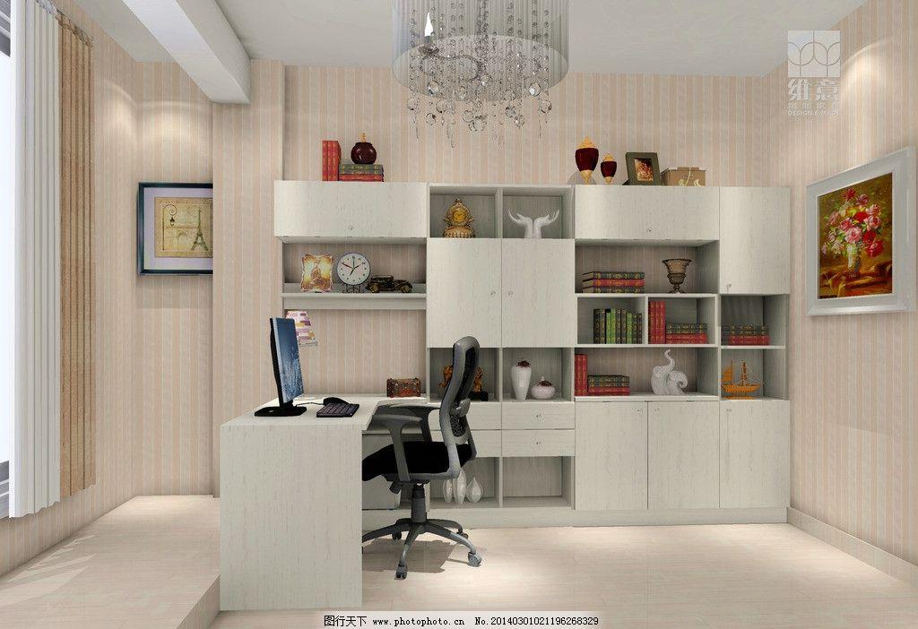 家装设计 书房 书柜 吊柜 书桌 椅子 挂画 壁纸 3d家装中式效果图精选