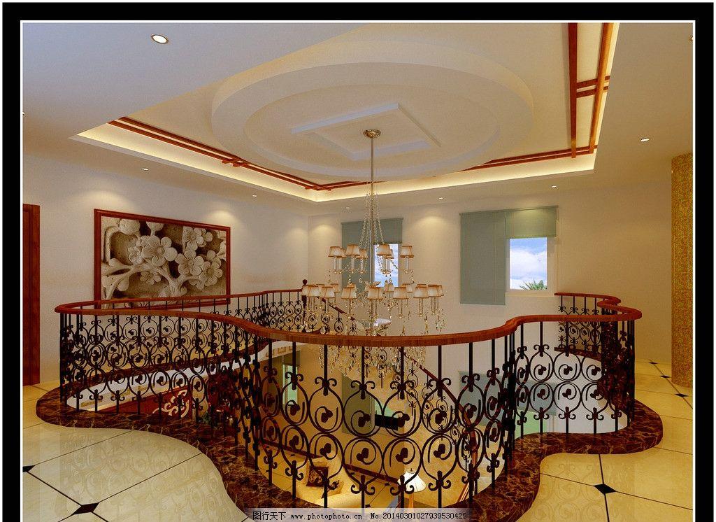 复式楼二层效果图 简中 现代 客厅 简单 简约 中空 客厅效果图