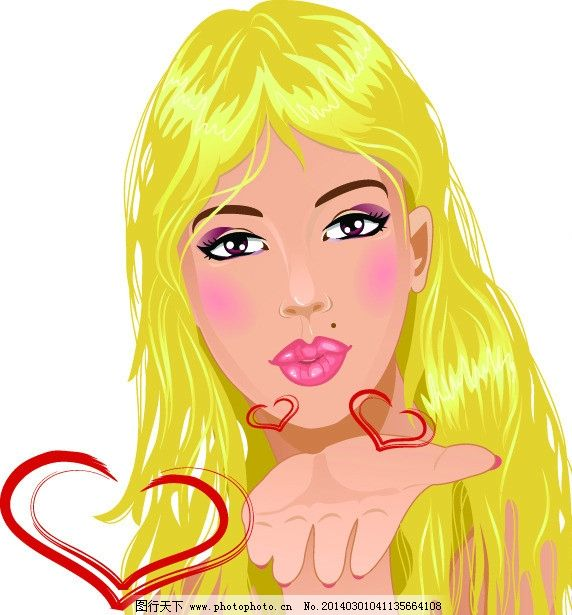 手绘少女 飞吻 女孩 女人 时尚 女生 美女 矢量女人 矢量人物