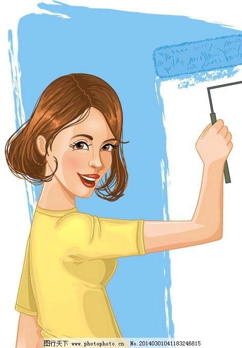 手绘少女 女孩 女人 刷油漆 时尚 少女 浇花 女生 美女 矢量女人 矢量