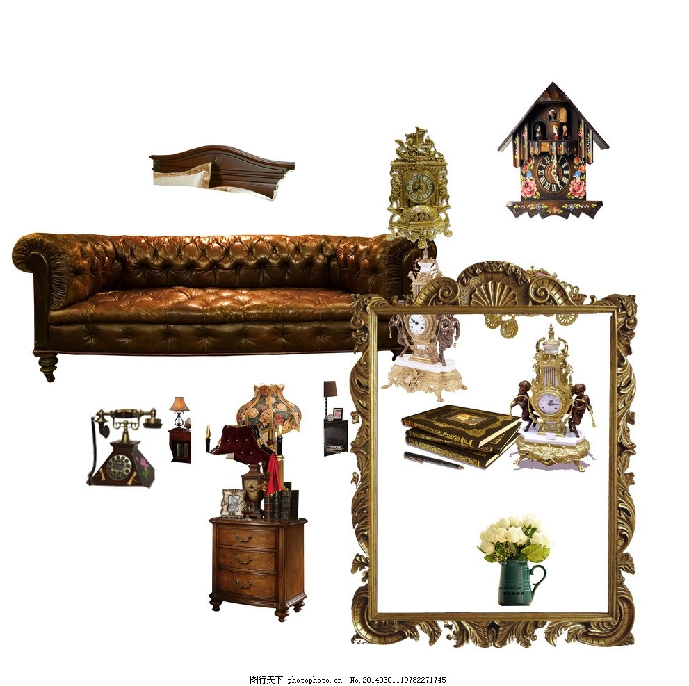 psd分层素材 金属花纹边框 古典时钟 欧式沙发 家居装饰 摇铃电话 源