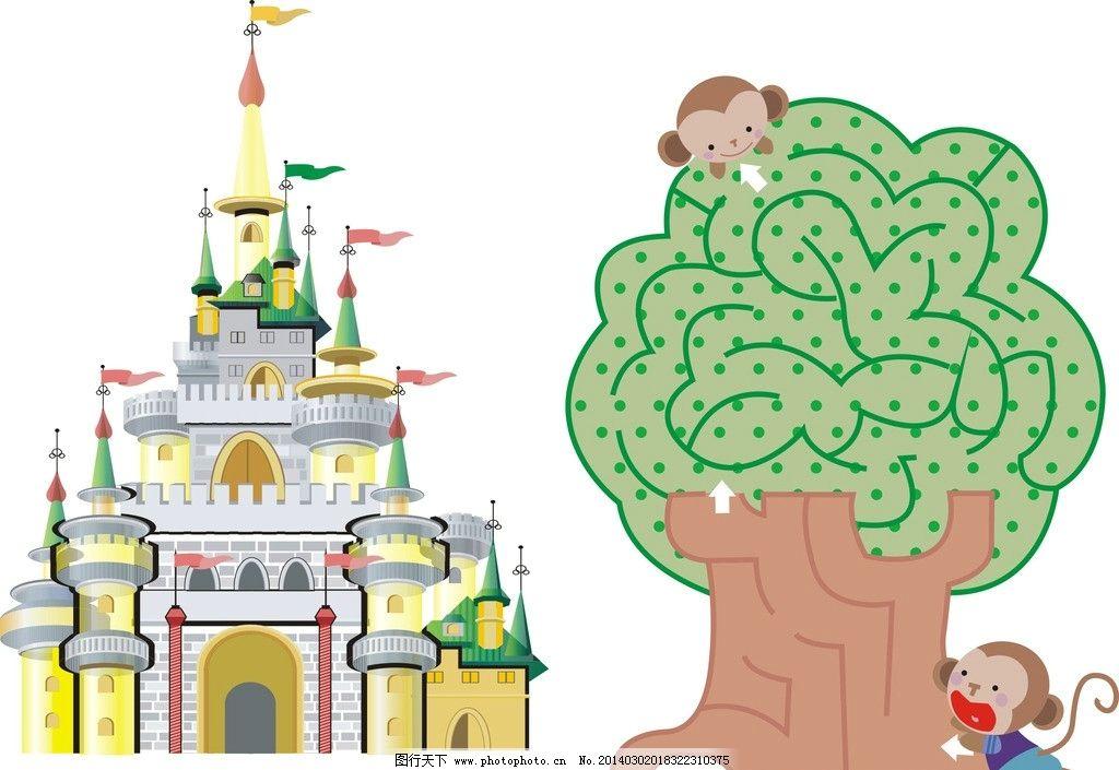 矢量城堡 卡通树木图片