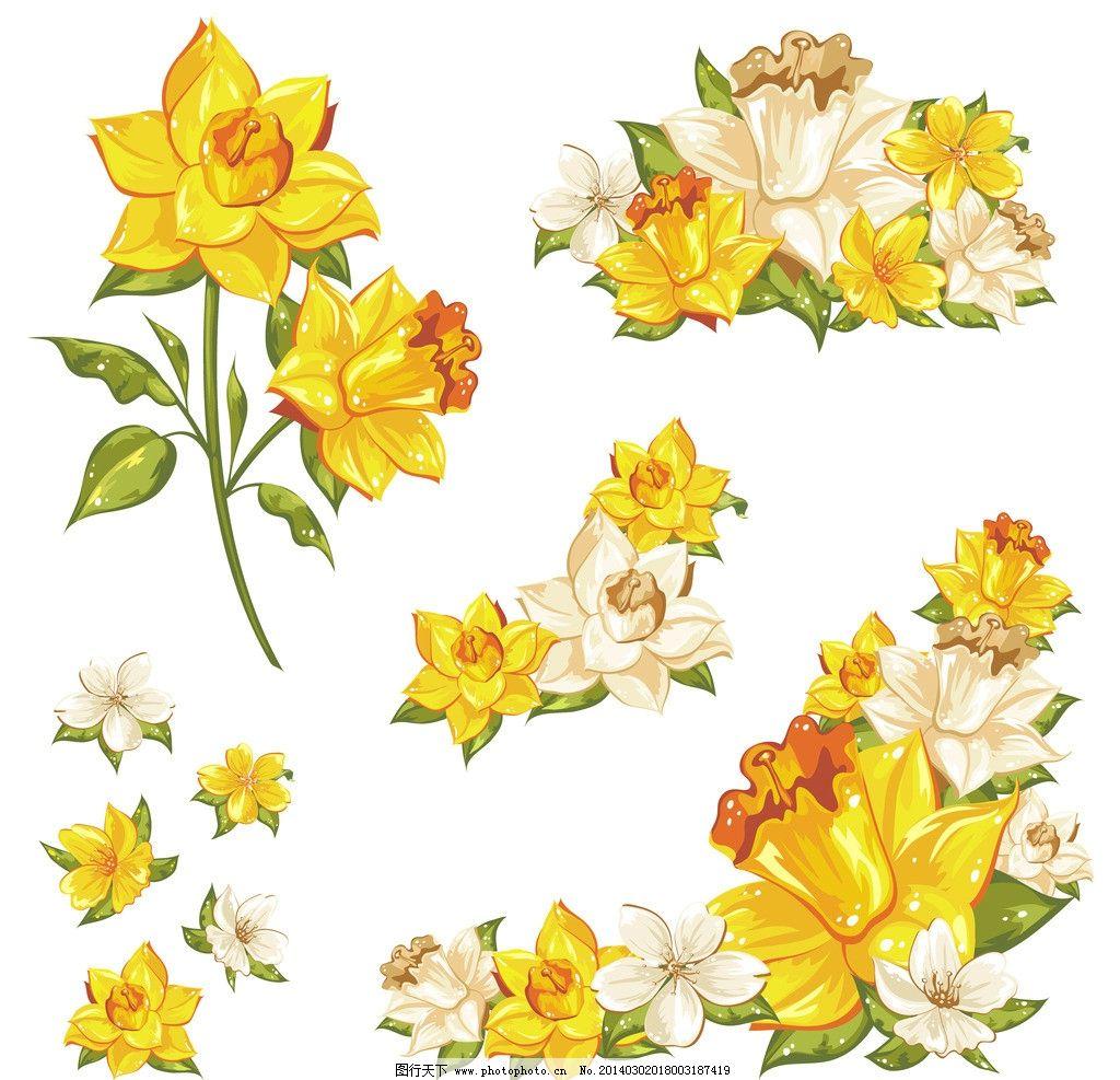 手绘花卉 花卉 鲜花 绿叶 花草背景 花草 生物世界 矢量 eps