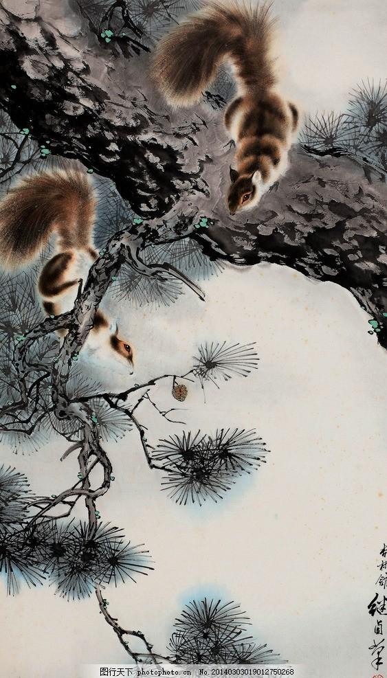 自在安然 国画 松鼠 绒毛 动物 松树 树干 树枝 树叶 植物