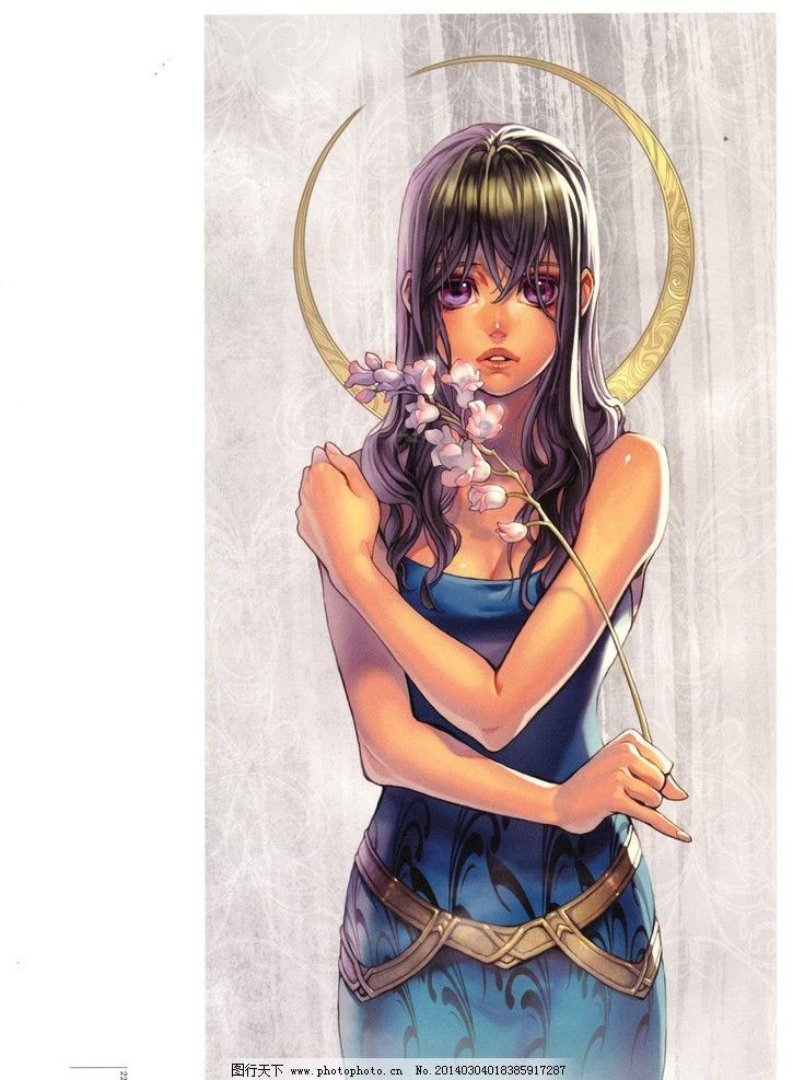 游戏 插画 人物场景 森林 角色 花朵 女孩 美女 游戏人物道具