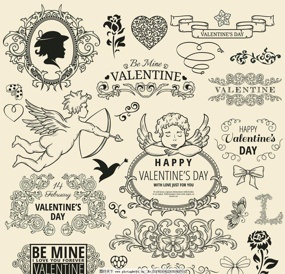 38妇女节图片,女人节 天使 欧式花纹 花边 手绘-图行
