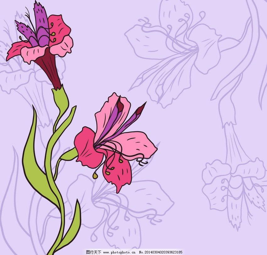 古典花朵 花卡 盛开 绽放 可爱 手绘 鲜花矢量 花朵矢量 花卉矢量
