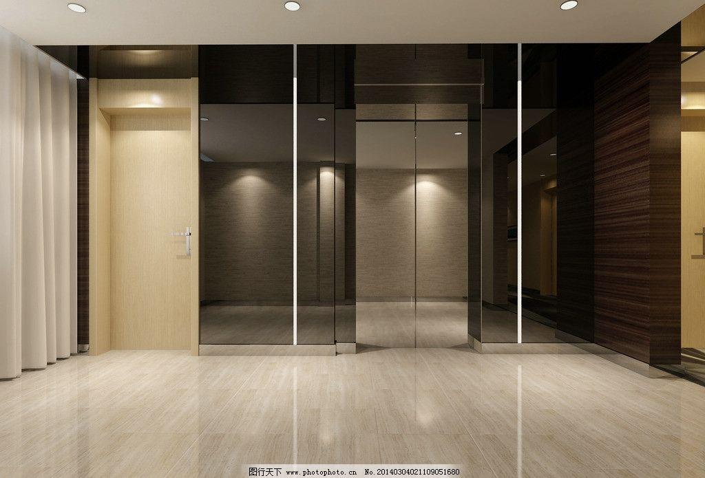 现代电梯间效果图 现代风格 电梯间        室内设计 工装 镜面玻璃