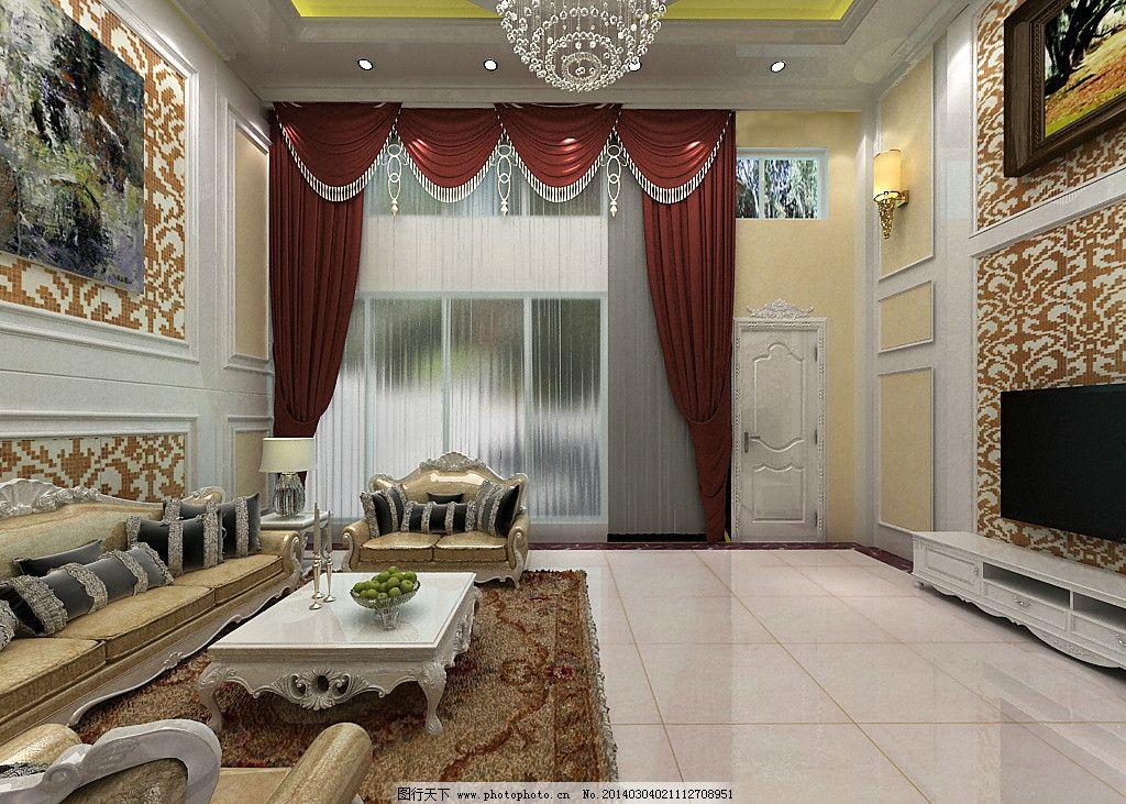 欧式豪华别墅客厅效果图片