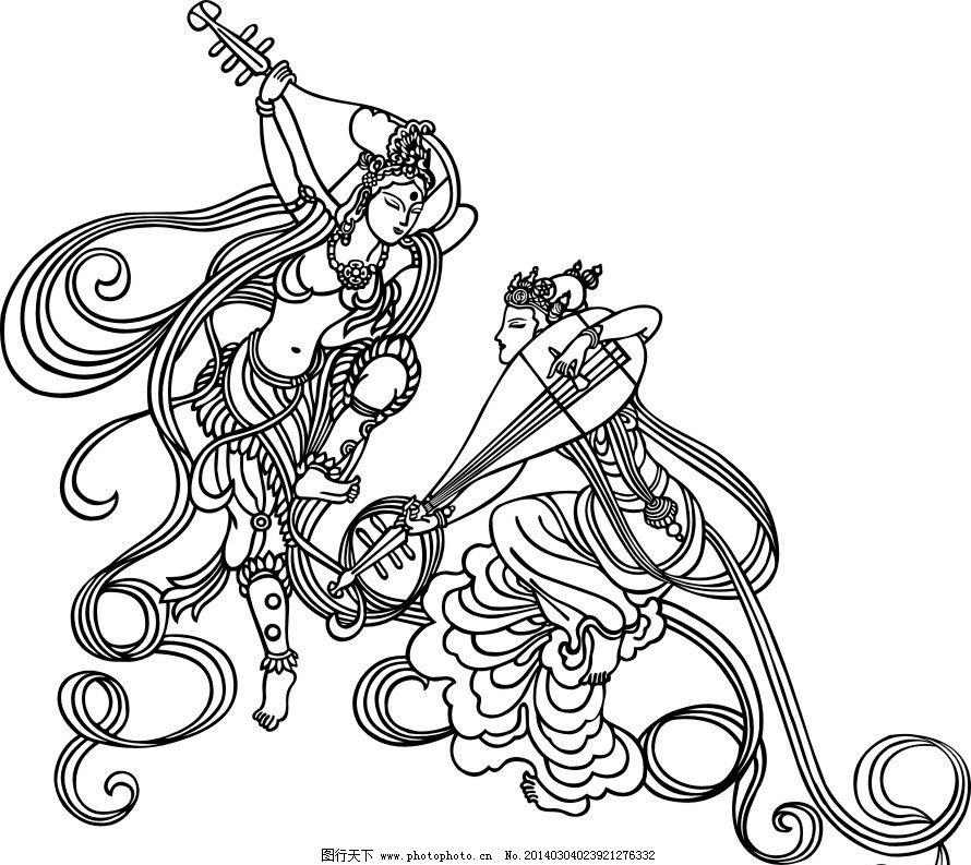飞天 雕刻图 设计 传统 图案 美工 其他人物 矢量人物 矢量 cdr