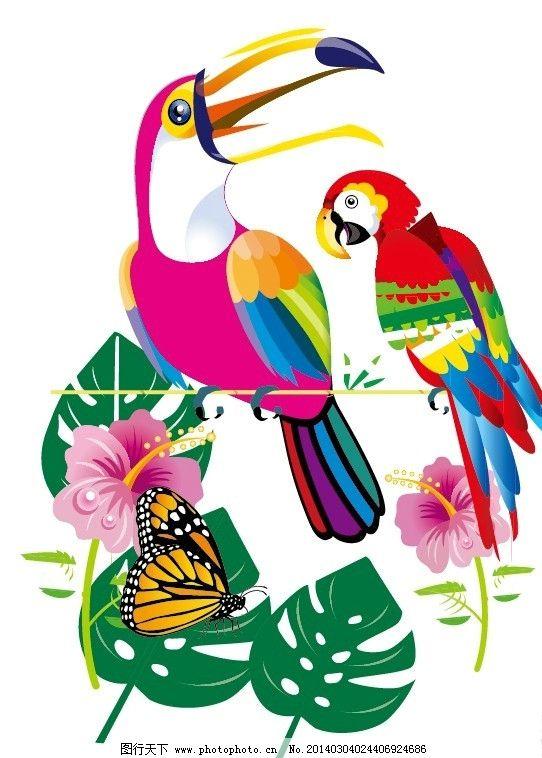 大嘴鸟 鸟类 动物 植物 枝叶 热带雨林 野生动物 生物世界 矢量 ai