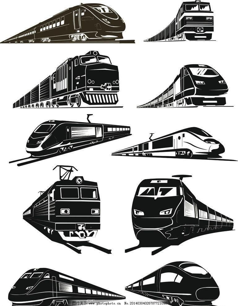 交通 运输 铁路运输 列车 高铁 蒸汽火车 运输工具 现代科技 矢量交通