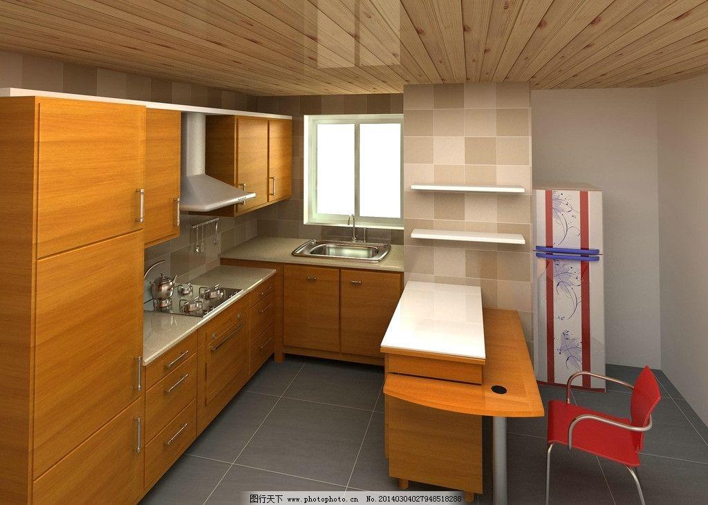 厨房设计效果图 木质天花板 灰色大理石地板 木质橱柜 小型餐桌 简洁