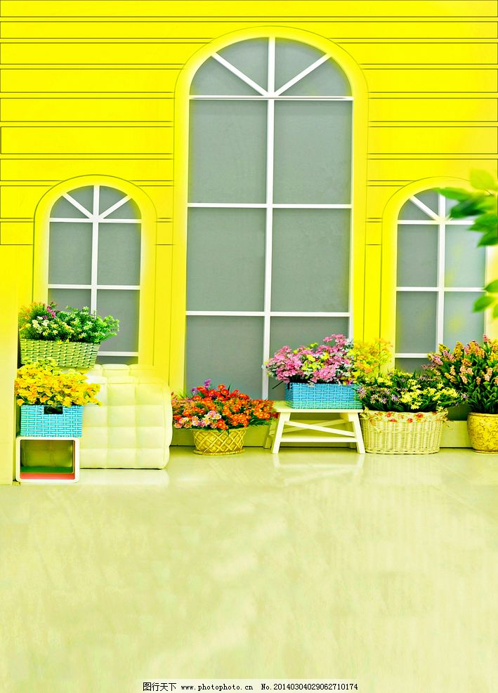 照相馆背景 黄色 门窗