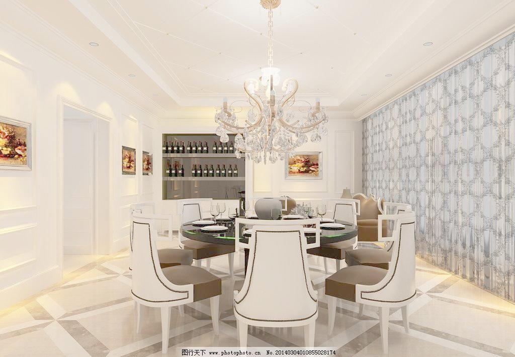 欧式餐厅效果图 欧式 白色