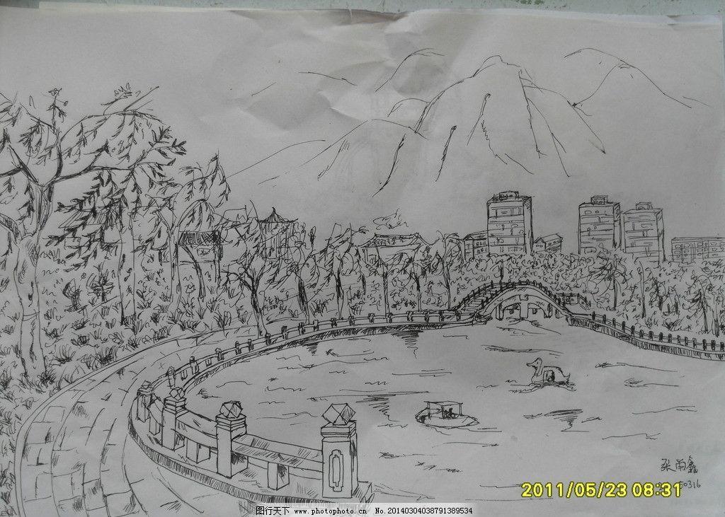 素描 风景画 绘画 公园 速写 桥 美术绘画 文化艺术 摄影 96dpi jpg