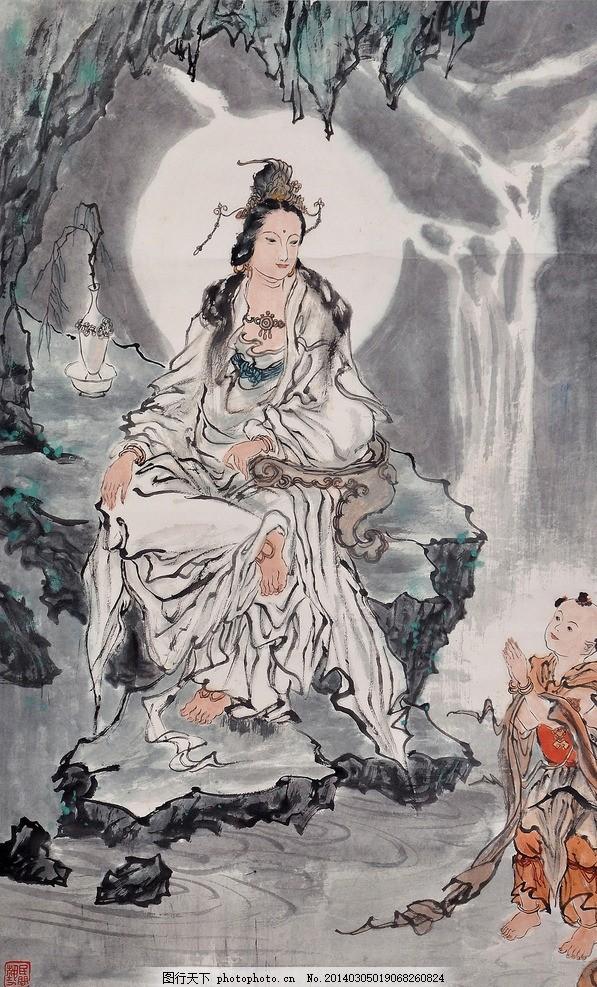 白衣 长裙 飘带 古装 古典 人物画 线描 工笔 字画 中国画 水墨画 彩图片