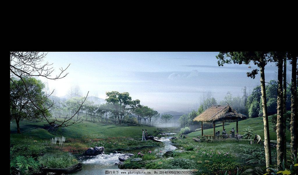 山间小木屋 山水风景 草丛