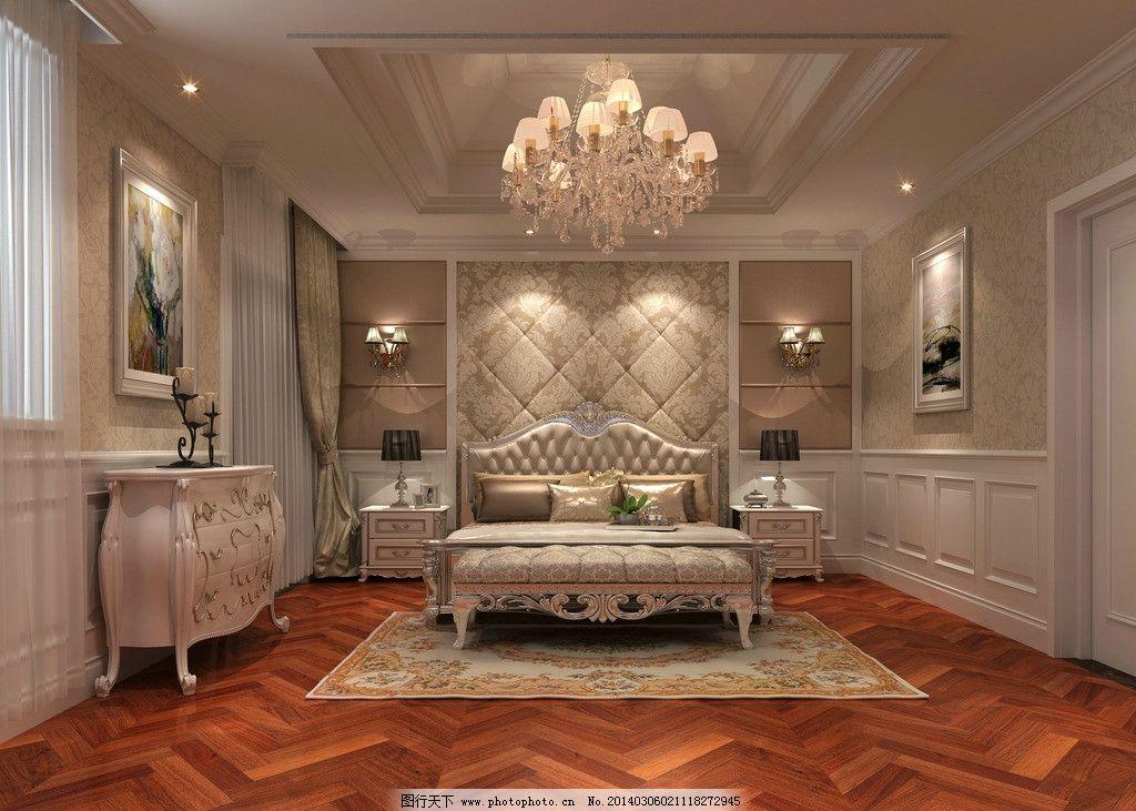 欧式吊灯 白色调 卧室背景墙图片
