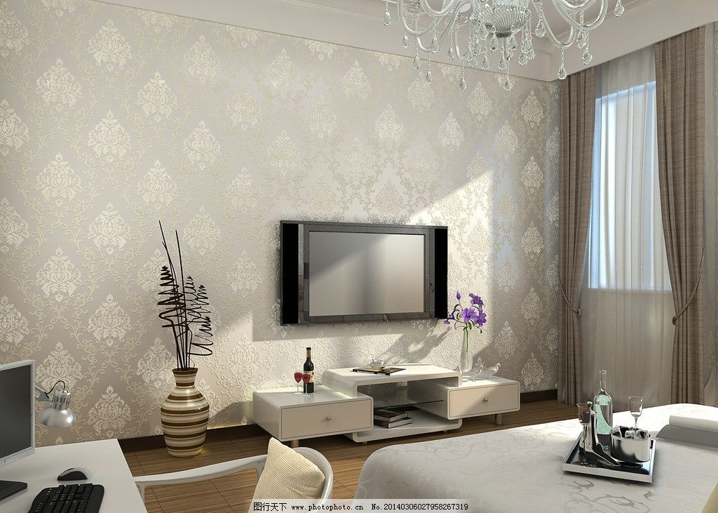 欧式墙纸效果图渲染 欧式 大马士革 墙纸 效果图 渲染 壁纸 室内 场景 卧室 室内设计 环境设计 设计 300DPI TIF