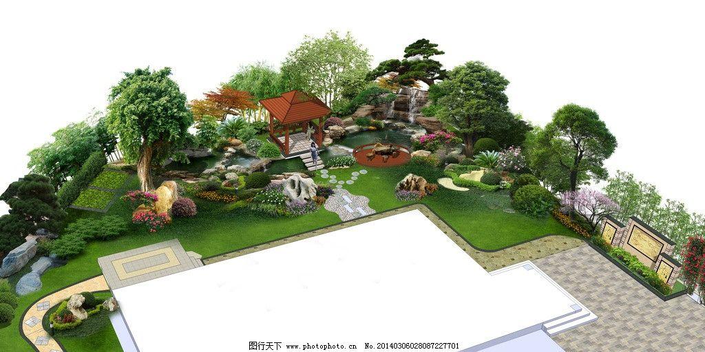 别墅庭院效果图 景观效果图 别墅庭院 景观鸟瞰图 庭院效果图 园林