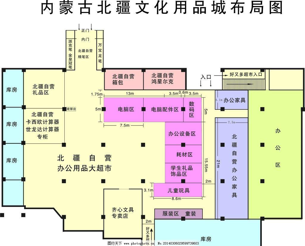 内蒙古北疆文化用品城 布局图 平面图 商场 广告设计 矢量