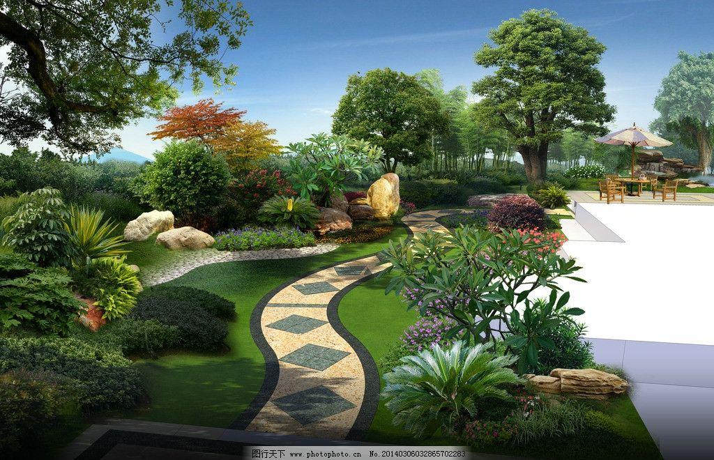 别墅庭院 别墅庭院效果图 景观效果图 园林效果图 庭院景观 园林设计