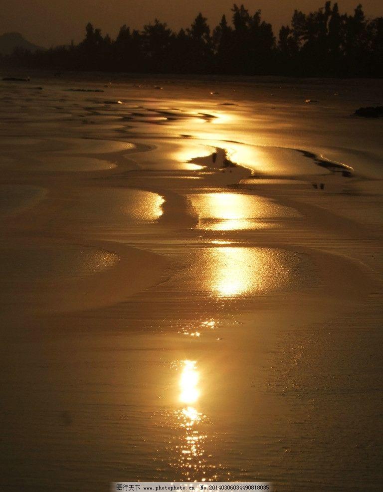 傍晚的海边 夕阳 滩涂 倒影 大海 傍晚 风景 山水风景 自然景观 摄影