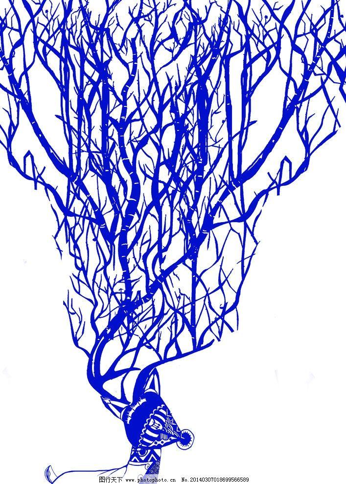 鹿插画 鹿 插画 蓝色 线条 构成 其他 动漫动画 设计 300dpi jpg
