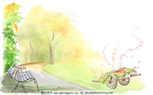 小清新公园手绘 小清新公园手绘免费下载 淡绿 公园座椅 图片素材