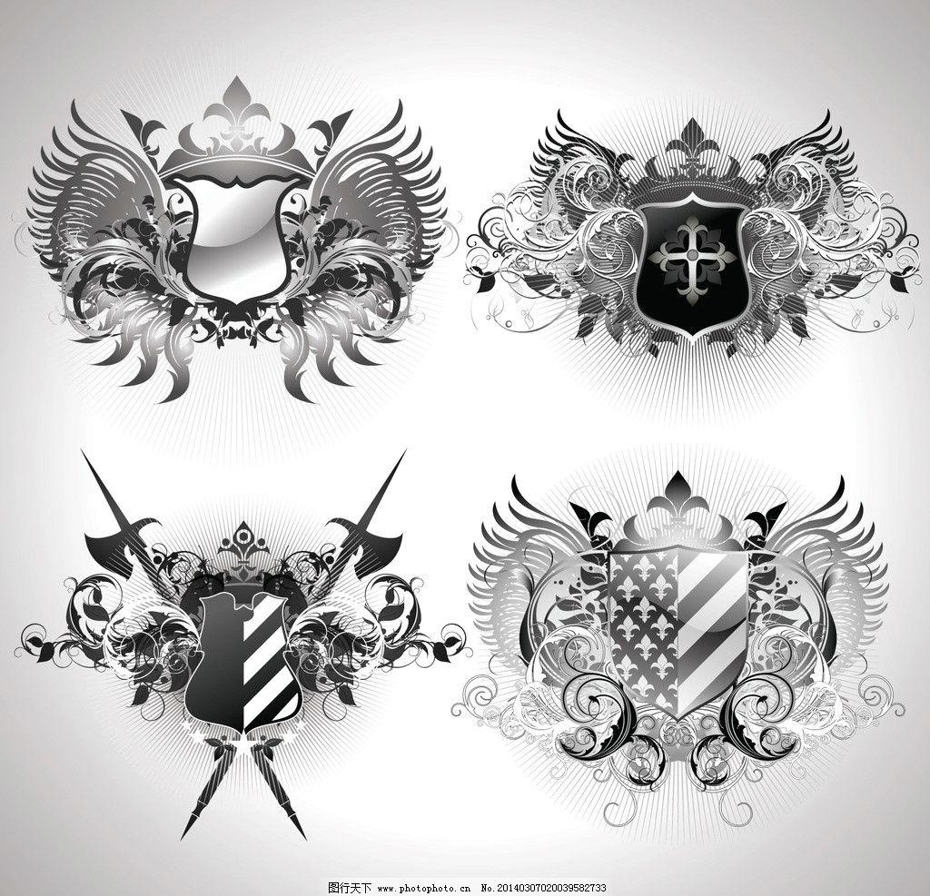 时尚纹章 纹身 皇冠 盾牌 欧式花纹 欧式复古图案 古典 图腾