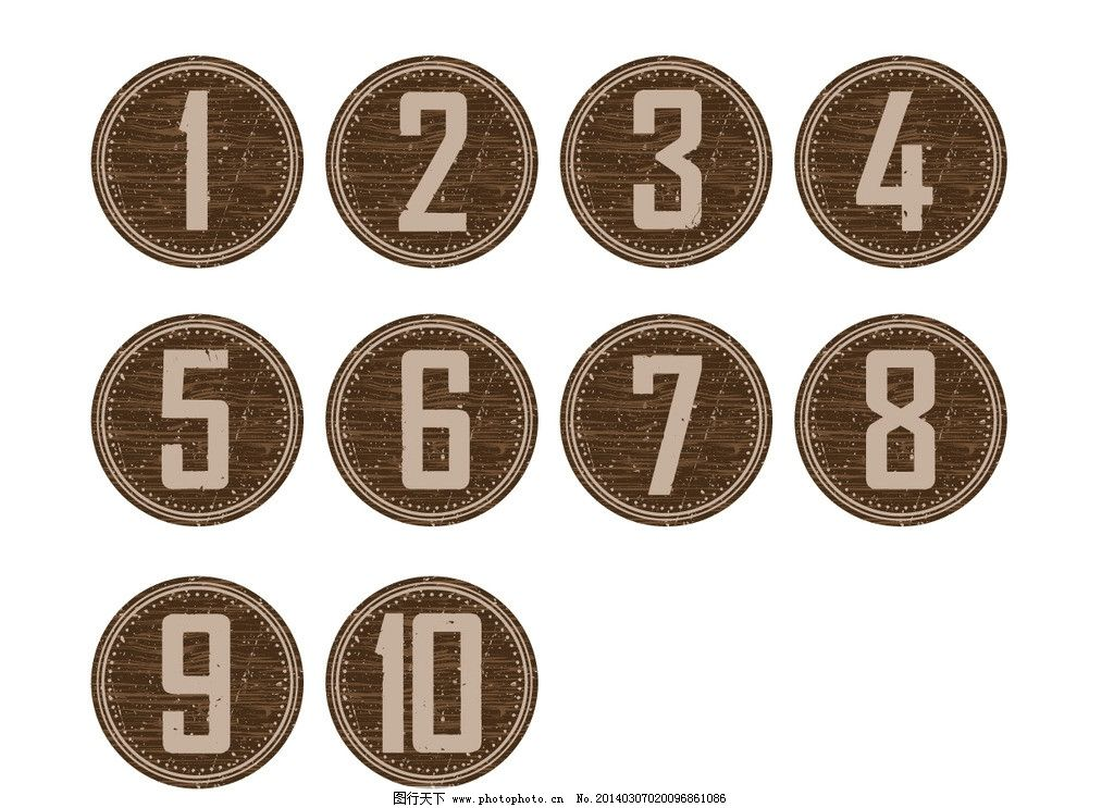 复古木质矢量数字图标图片