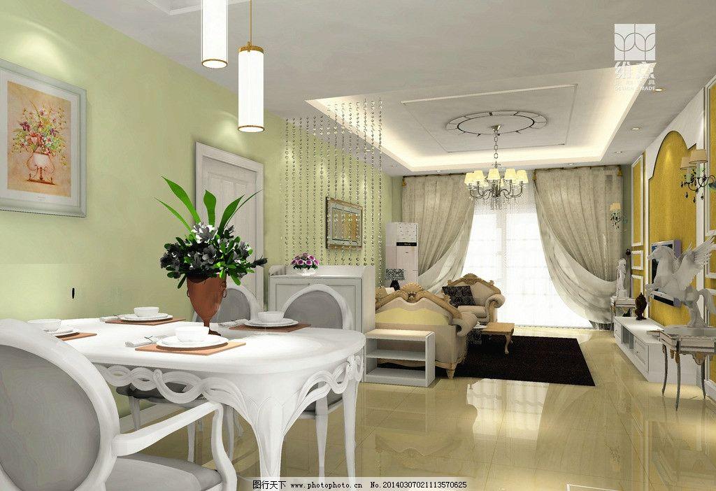 家装设计 电视 电视柜 吊灯 吊顶 欧式背景墙 欧式雕塑 餐桌