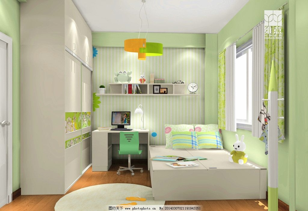 家装效果图 衣柜 儿童房 床 吊柜 书桌 座椅 衣架 3d家装中式效果图精