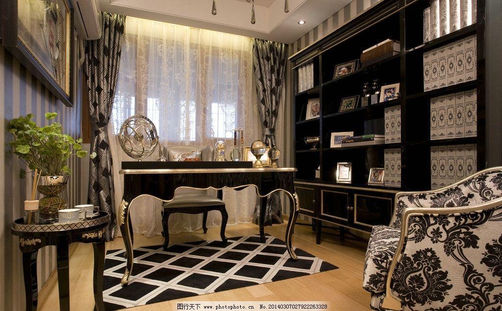 书房 欧式 古典 室内 办公房 室内设计 环境设计 设计 300dpi jpg