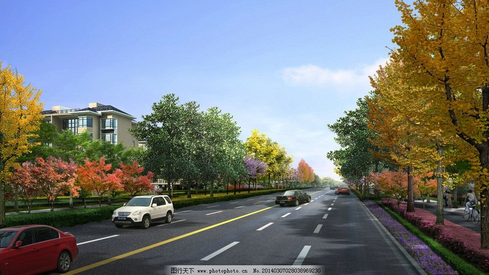 道路景觀效果圖 公園景觀 自然風景 景觀設計 城市景觀 景觀設計效果