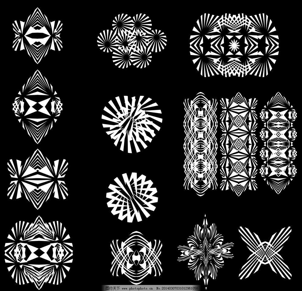 黑白花纹 矢量素材 花纹模板下载