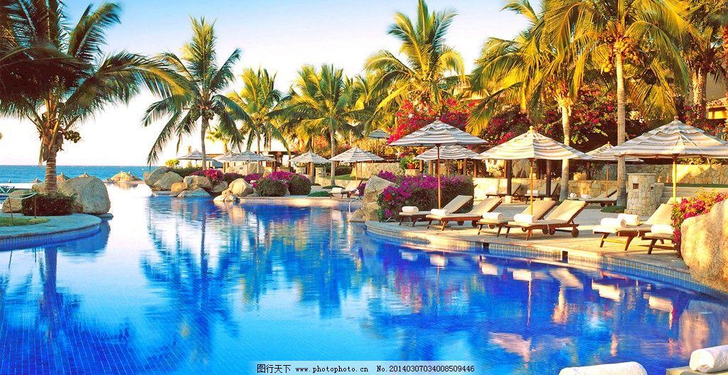 遮阳伞 躺椅 游泳池 高清 大图 旅游摄影 唯美 壁纸 泰国普吉岛 国外
